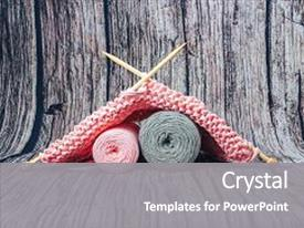 Beautiful slide deck featuring needlework yarn cotton knitting art backdrop and a gray colored foreground.