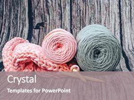 Cool new slides with needlework yarn cotton knitting art backdrop and a gray colored foreground.
