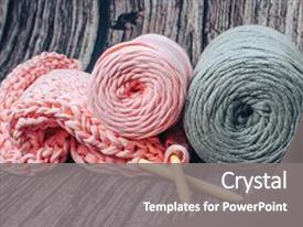 Beautiful theme featuring needlework yarn cotton knitting art backdrop and a gray colored foreground.