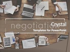 PPT layouts enhanced with negotiation deal agreement collaboration talk background and a gray colored foreground.