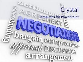 Cool new PPT theme with bargain - negotiation word collage in 3d backdrop and a sky blue colored foreground.