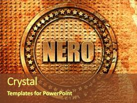 Colorful PPT layouts enhanced with nero 3d rendering metal text backdrop and a tawny brown colored foreground