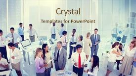 PPT theme featuring network - group of business people meeting background and a cream colored foreground