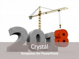 Colorful presentation theme enhanced with new 2018 year construction background backdrop and a gray colored foreground.