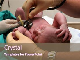 Cool new slide deck with new born baby being examined backdrop and a violet colored foreground.