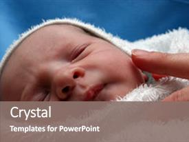 Presentation theme having new born baby being examined background and a gray colored foreground.