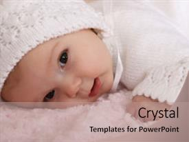 PPT theme enhanced with new born - beautiful two month old baby background and a coral colored foreground.