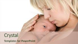 Presentation enhanced with new born - happy mother with her baby background and a soft green colored foreground.