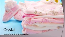 Cool new PPT theme with new born - layette with clothes for newborn backdrop and a light blue colored foreground.