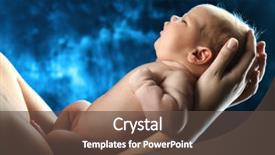 Audience pleasing PPT layouts consisting of new born - portrait of a beautiful baby backdrop and a dark gray colored foreground.