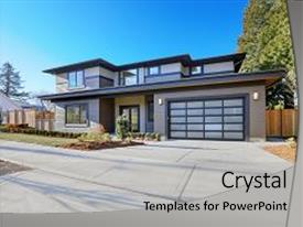 Slide deck having new construction home exterior with background and a light gray colored foreground.
