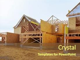 Cool new presentation with housing - new construction of a house backdrop and a tawny brown colored foreground.