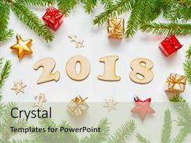 presentation theme enhanced with new year 2018 background background and a soft green colored foreground