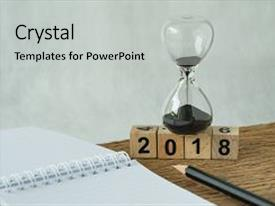 PPT theme consisting of new year 2018 goals target background and a light gray colored foreground.