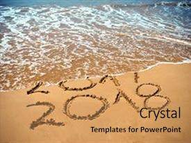Presentation having new year 2018 is coming concept - inscription 2017 and 2018 on a beach sand the wave is covering digits 2017 new year 2018 celebration on new year s eve tropical island travel tour background and a coral colored foreground.