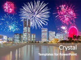 presentation enhanced with firework display in yokohama japan background and a gray colored foreground