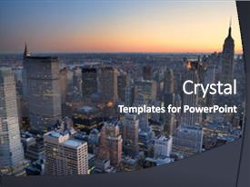 Amazing PPT layouts having new york city manhattan skyline backdrop and a dark gray colored foreground.