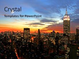 Presentation enhanced with new york city midtown skyline background and a light blue colored foreground.