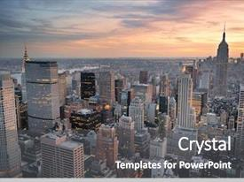 Beautiful slides featuring new york city skyline aerial backdrop and a dark gray colored foreground