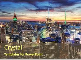 PPT theme with new york city skyline background and a tawny brown colored foreground