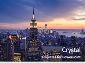 Colorful PPT theme enhanced with new york city with skyscrapers backdrop and a navy blue colored foreground
