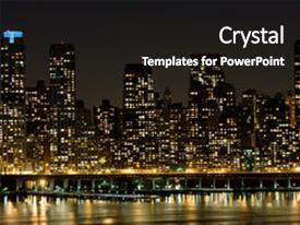 Cool new presentation design with new york east side apartments backdrop and a black colored foreground.