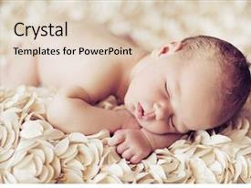 PPT theme enhanced with newborn baby peacefully sleeping background and a lemonade colored foreground