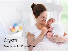 Amazing PPT theme having newborn child mom nursing baby backdrop and a  colored foreground.