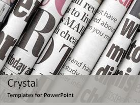 Audience pleasing presentation theme consisting of newspaper headlines shown side backdrop and a light gray colored foreground