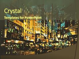 PPT theme having night scene cityscape abstract art background and a tawny brown colored foreground
