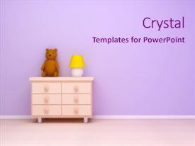 Theme enhanced with nightstand with lamp and teddy bear pastel colors empty room background and a sky blue colored foreground.