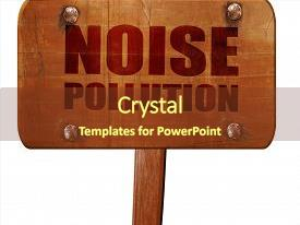 PPT theme enhanced with noise pollution 3d rendering text background and a tawny brown colored foreground.