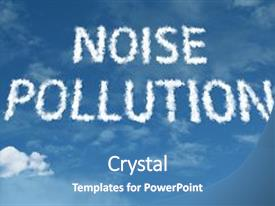 Slide deck consisting of noise pollution cloud word background and a teal colored foreground.