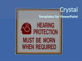 Cool new PPT theme with noise pollution - hearing protection must be worn backdrop and a ocean colored foreground.