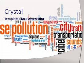 Beautiful PPT theme featuring noise pollution - urban noise issues backdrop and a sky blue colored foreground.