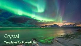 Presentation theme with north pole - real magic of northern lights background and a ocean colored foreground