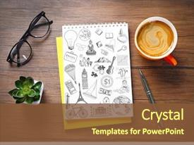 Cool new slides with notebook with drawings and cup backdrop and a tawny brown colored foreground