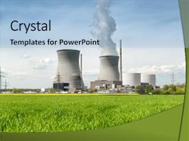 PPT theme having nuclear power energy concept - nuclear background and a light blue colored foreground.