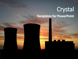 5000 power plant powerpoint templates w power plant themed backgrounds audience pleasing presentation consisting of nuclear power plant over sunset backdrop and a gray colored foreground toneelgroepblik Gallery