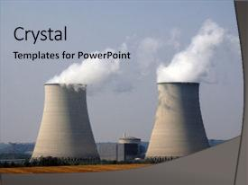 PPT theme with nuclear power station with cooling background and a light gray colored foreground.