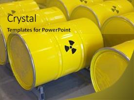 Slide deck enhanced with nuclear waste stored in yellow background and a gold colored foreground.