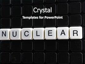 Presentation design consisting of nuclear white text word background and a black colored foreground.