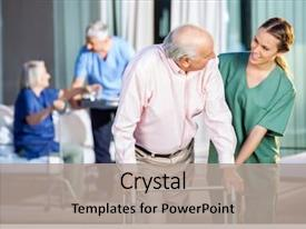 Presentation theme enhanced with nurse - happy female caretaker assisting senior background and a light gray colored foreground