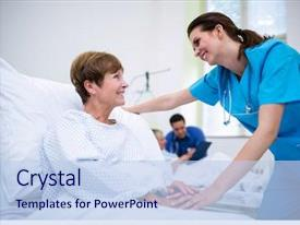 Colorful PPT layouts enhanced with nurse consoling a patient backdrop and a light blue colored foreground