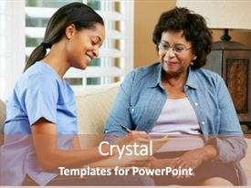 PPT theme with nurse making notes during home background and a coral colored foreground