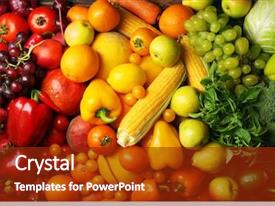 Audience pleasing PPT theme consisting of nutrition - colorful fruits and vegetables background backdrop and a tawny brown colored foreground