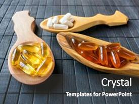 5000 vitamin powerpoint templates w vitamin themed backgrounds slides with nutritional supplements and s for brain in three wooden spoons on toneelgroepblik Images