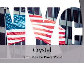 PPT theme featuring nyse - american flag in new york background and a  colored foreground.