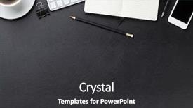 PPT layouts enhanced with office leather desk table background and a dark gray colored foreground