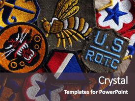 Army rotc powerpoint templates crystalgraphics audience pleasing presentation theme consisting of old army and university patches backdrop and a dark gray toneelgroepblik Choice Image
